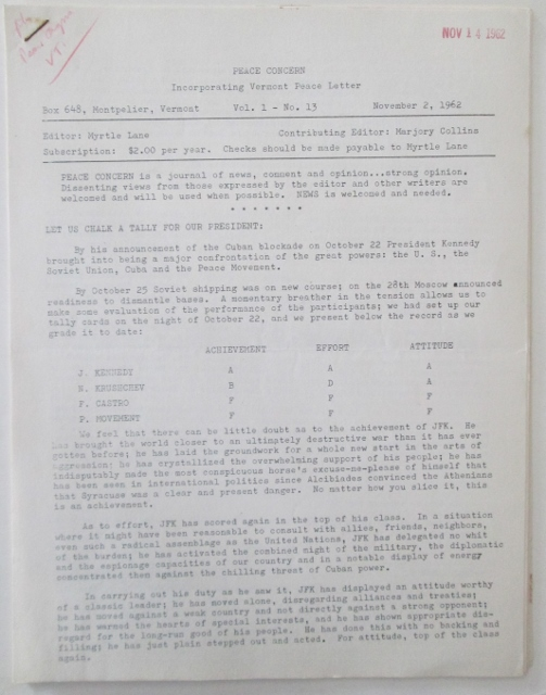 Peace Concern, Incorporating Vermont Peace Letter. Vol. 1 No. 13. November 2, 1962. Myrtle Lane, Marjory Collins, contributing.
