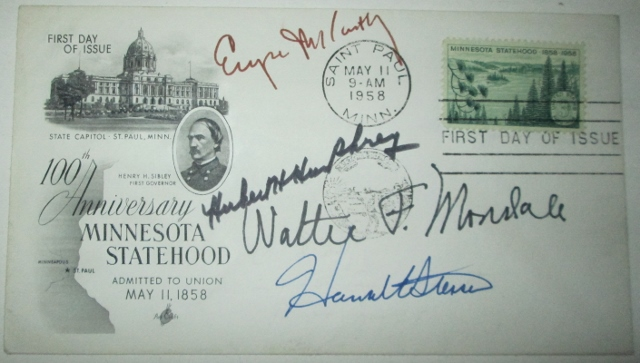 First Day Cover, First Day of Issue Stamp/Envelope with stamp commemorating the 100th Anniversary of Minnesota statehood. No author given.