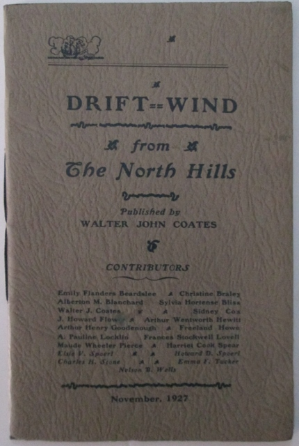 Driftwind. A Magazine of Vermont and the North Hills. November, 1927. Vol. 2. No. 3. Walter John Coates, J. Howard Flower.