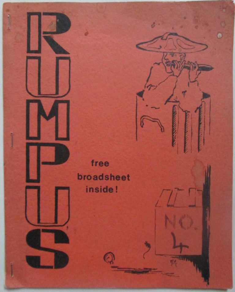 Rumpus No. 4. October 1969. Alison J. Bielski, Colin Cross, M. A. Gettisburg, Michael Horovitz, David Mercer, Steve Morris, Will Parfitt, David Reid, Robert S. Thomas, J. P. Ward, Clive Williams.