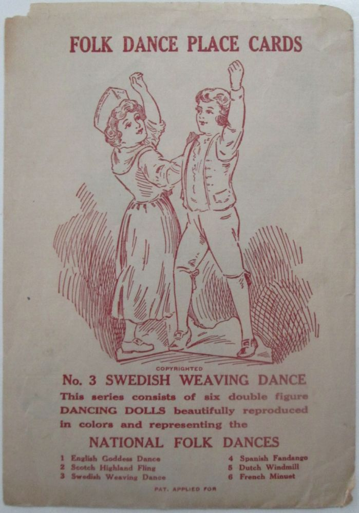 Folk Dance Place Cards. No. 3 Swedish Weaving Dance. No author given.