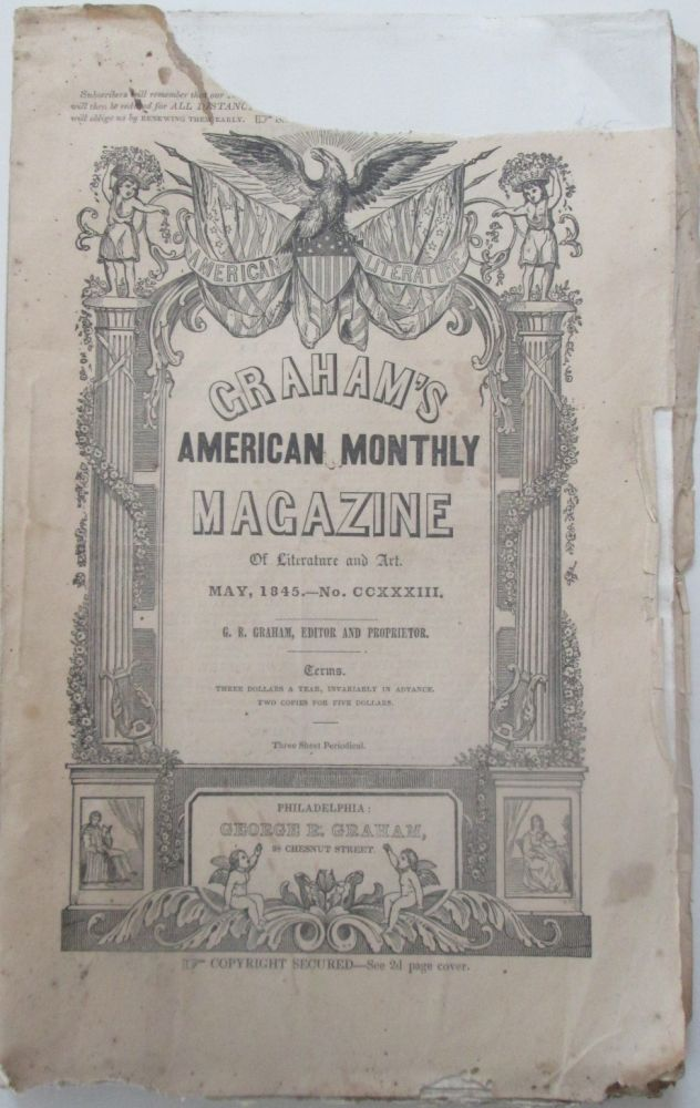 Graham's American Monthly Magazine of Literature and Art. May, 1845. James Fenimore Cooper, Henry Wadsworth Longfellow.