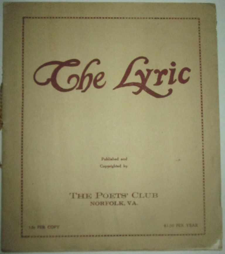 The Lyric. August 1923. Vol. 3 No. 8. Witter Bynner.