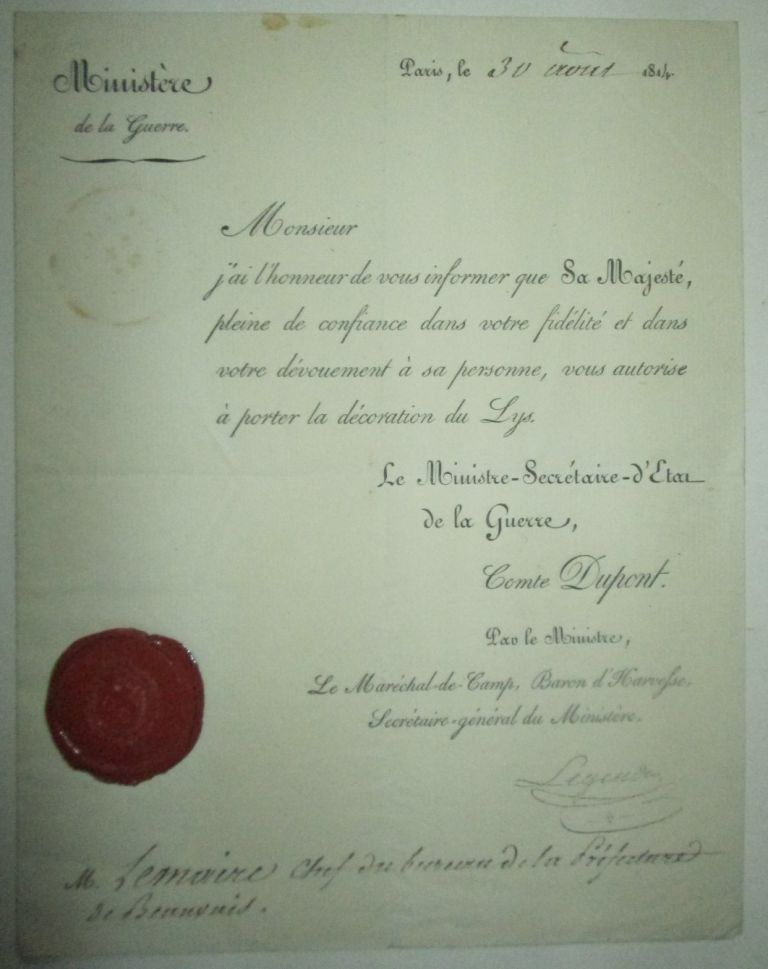 Document authorizing the award of the Decoration du Lys (Decoration of the Lily). 1814. No author given.