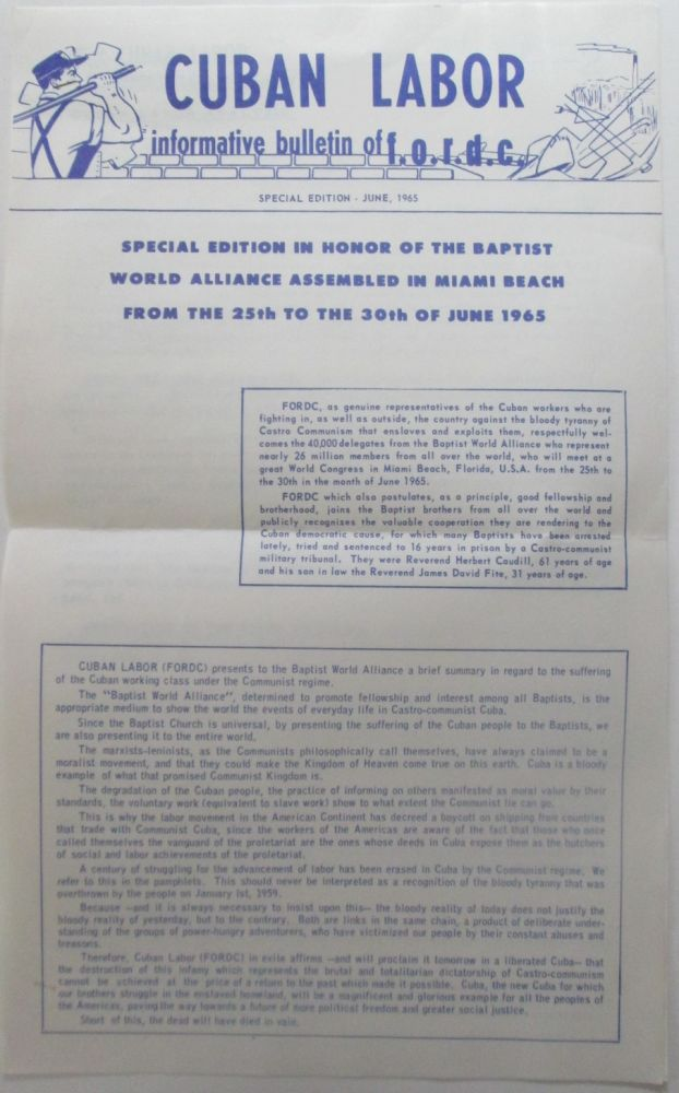 Cuban Labor. Informative Bulletin of F.O.R.D.C. Special Edition, June, 1965. No author given.