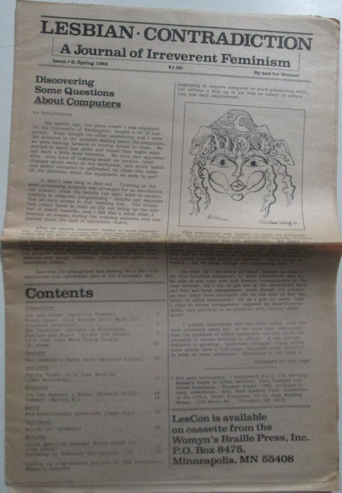 Lesbian Contradiction. A Journal of Irreverent Feminism. Issue #6. Spring, 1984. authors.