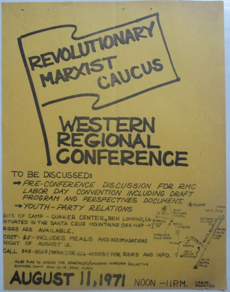Revolutionary Marxist Caucus, Western Regional Conference Flyer. given.