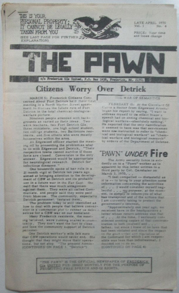The Pawn. Late April 1970. Vol. 1 No. 4. No author given.