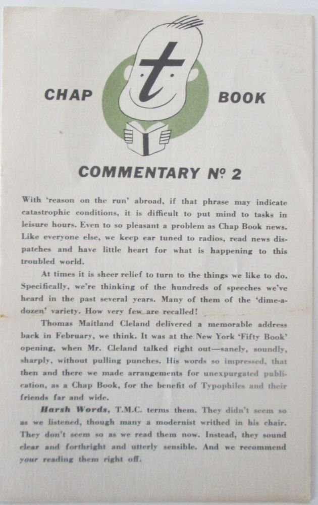 The Typophile's Chap Book. Commentary Number 2. authors.