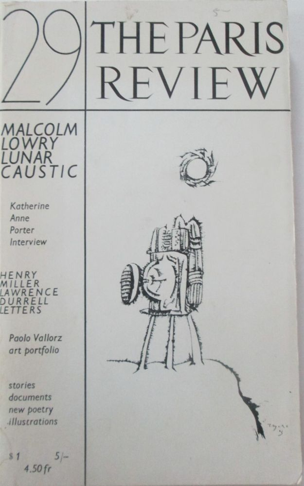 The Paris Review. Number 29. Winter-Spring 1963. Malcolm Lowry, Henry Miller, Lawrence Durrell, Robert Creeley.