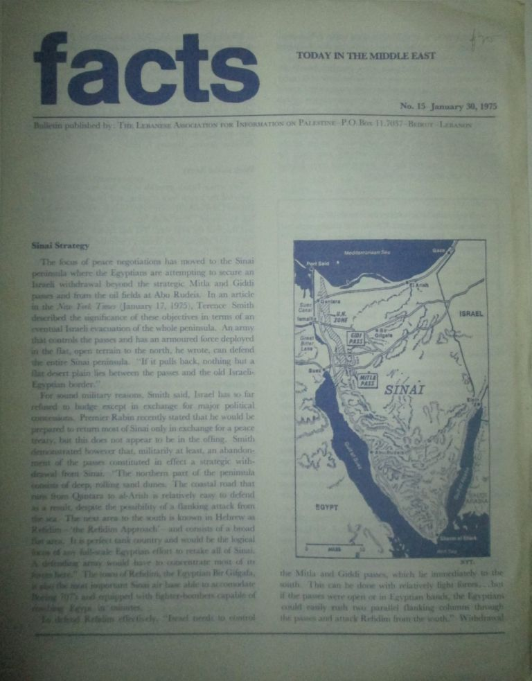 Facts Today in the Middle East. No. 15-January 30, 1975. given.