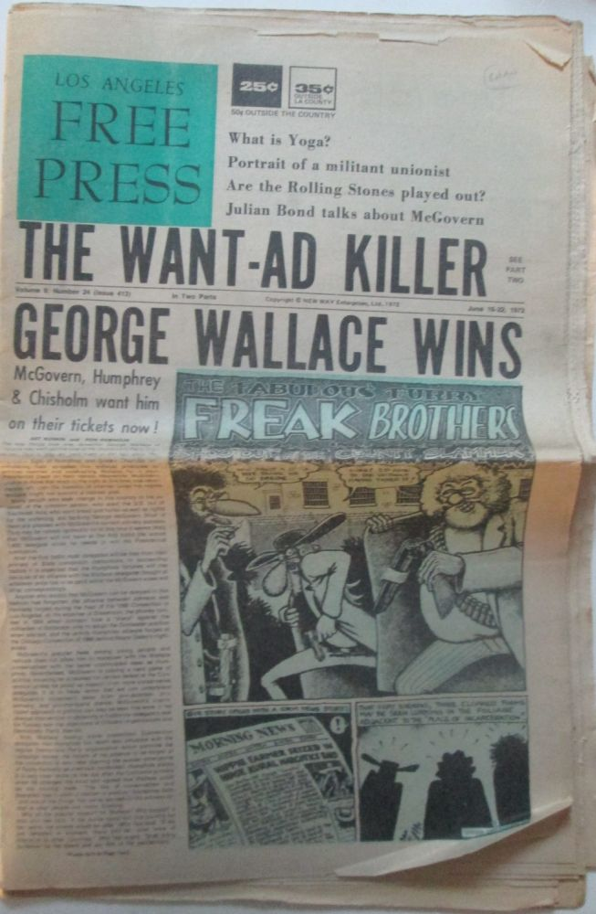 Los Angeles Free Press June 16-22, 1972. In two parts, Complete. Charles Bukowski.