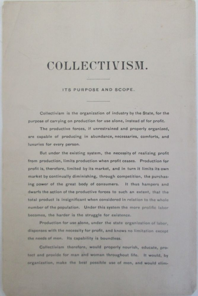 Collectivism. Its Purpose and Scope. given.