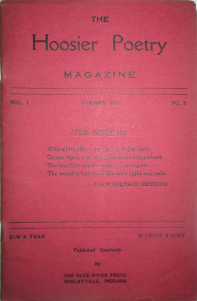 The Hoosier Poetry Magazine. Summer, 1936. Volume 1, Number 2. Loren Phillips, Alonzo Rice, Mabelle Chitwood.