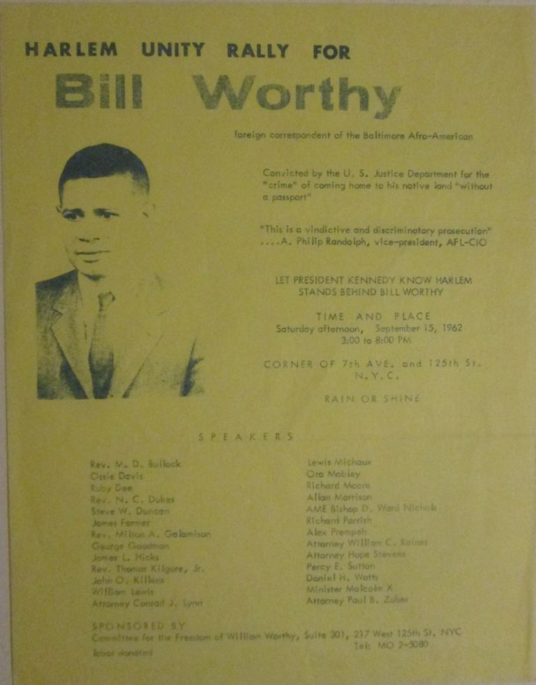 Harlem Unity Rally For Bill Worthy. given.