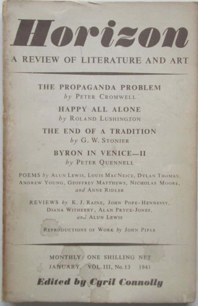 Horizon. A Review of Literature and Art. January, 1941. Dylan Thomas, Anne Ridler, Peter, Cromwell.