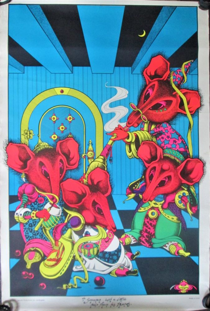 The Sorcerer with a Little Help from His Friends Psychedelic Black Light Poster. Joe Petagno, artist.