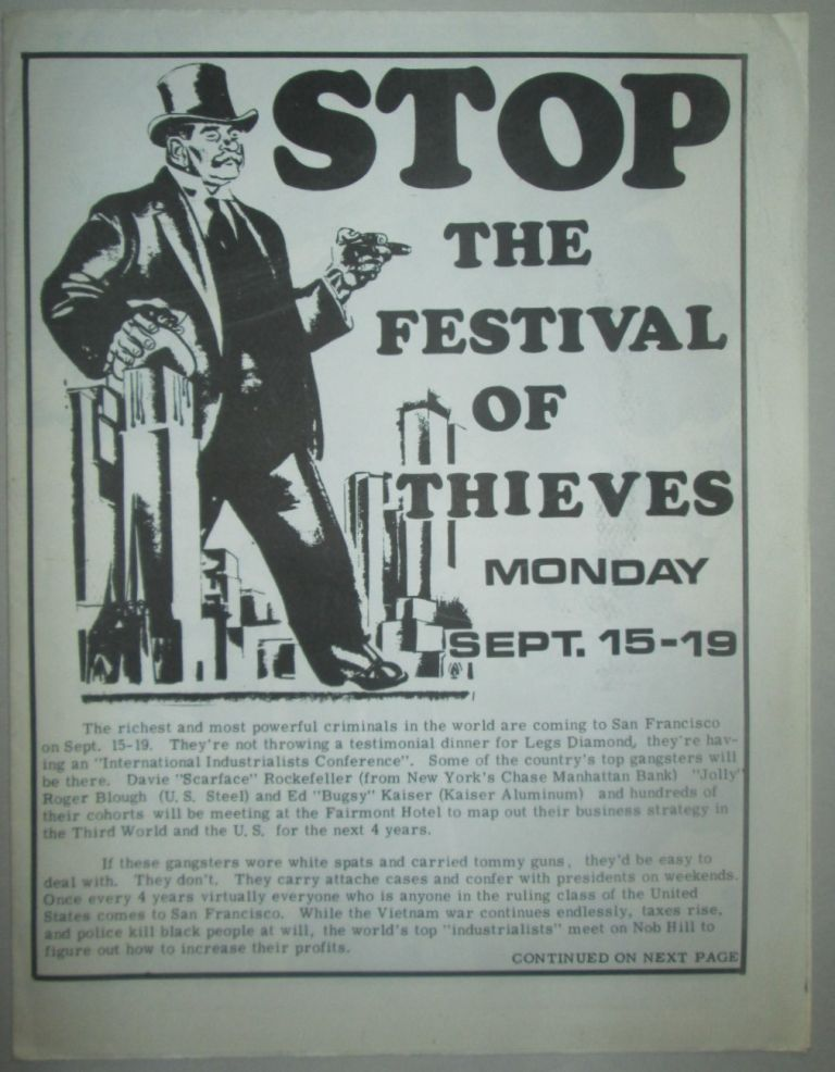 Stop the Festival of Thieves. Sept. 15-19 Event Poster, Booklet. Students for a. Democratic Society.