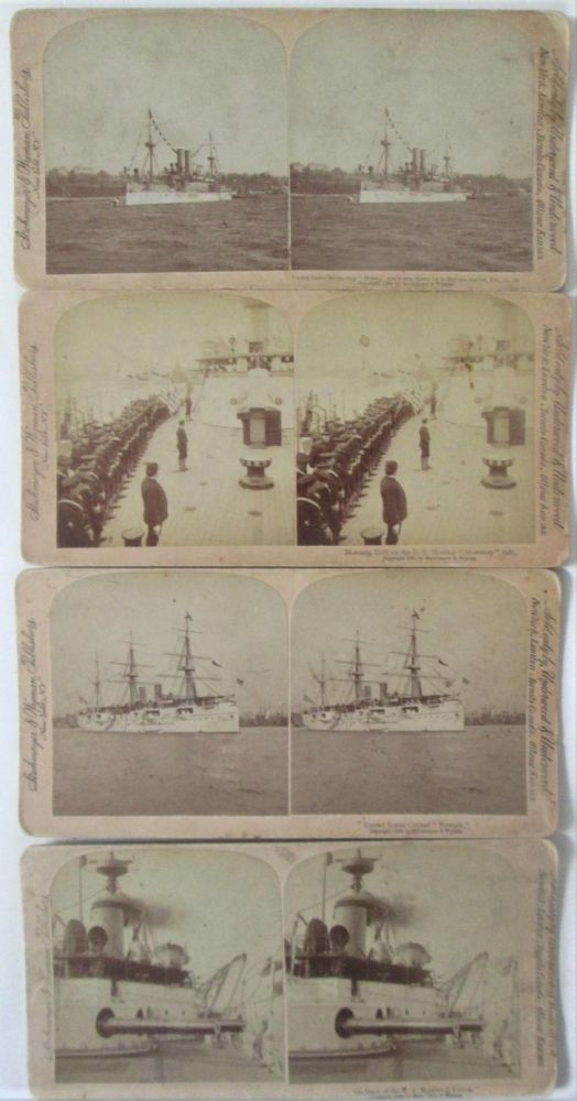 Stereoscope Photos of United States Navy ships. Four Slides. given.
