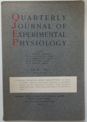 Cutaneous Sensation After Nerve Division in Quarterly Journal of Experimental Physiology Vol. X....
