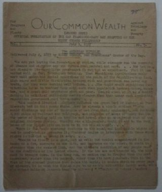 Our Common Wealth. July 1, 1937. Vol 1. No. 5. Official Publication of the San Francisco-East...