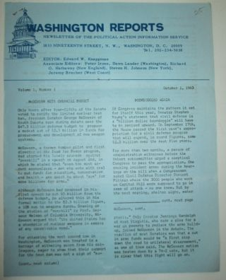 Washington Reports. Newsletter of the Political Action Information Service. Volume 1, Number 1....