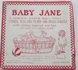 Baby Jane. A Jointed Paper Doll That Stands, Sits, Goes to Bed and Holds a Bottle with clothes, bassinet and toys to cut out and Color. Gertrude Breed.