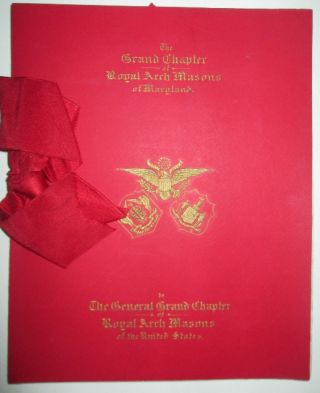 Complimentary Dinner by the Grand Chapter of Royal Arch Masons of Maryland, to the General Grand...