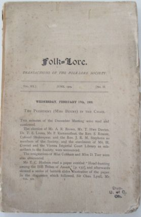 Folk-Lore. A Quarterly Review of Myth, Tradition, Institution and Custom. June 1909. Vol XX. No....