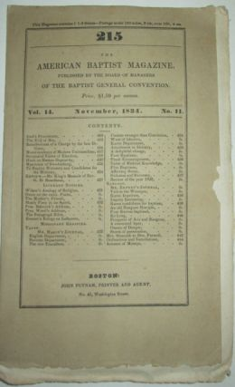 The American Baptist Magazine. November, 1834. authors