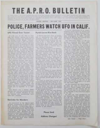The A.P.R.O. Bulletin. May-June 1969. Coral E. Lorenzen, authors. The A. P. R. O. Bulletin....