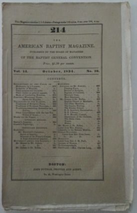 The American Baptist Magazine. October, 1834. Vol 14, No. 10. authors