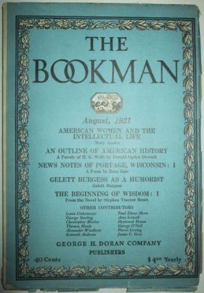 The Bookman. August, 1921. Mary Austin, Amy Lowell, Christopher Morley