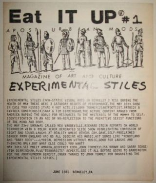 Eat It Up. A Post Urban Mods Magazine of Art and Culture. #1. June 1981. Helen Holt, Tom Patrick, Jeff Stoll.