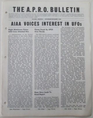 The A.P.R.O. Bulletin. November-December 1968. Coral E. Lorenzen, authors
