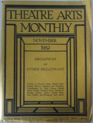 Theatre Arts Monthly. November 1932. Vol. XVI, 11. Conrad Aiken