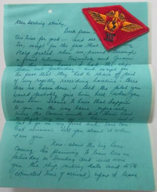 World War II Era Handwritten Letter. Nov. 1945. With World War II Era Third Marine Aircraft wing...