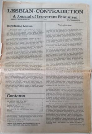 Lesbian Contradiction. A Journal of Irreverent Feminism. Issue #1. Winter 1982-83. Jan Adams,...