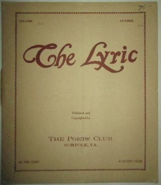 The Lyric. February 1922. Vol. 2 No. 2. Robert Hillyer, Margaret Widdemar, Medora C. Addison