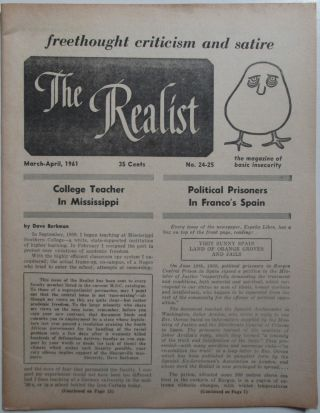 The Realist. Freethought, Criticism and Satire. March-April, 1961. No. 24-35. Paul Krassner