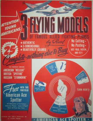 3 Flying Models of Famous Allied Fighting Planes by Reed. Given