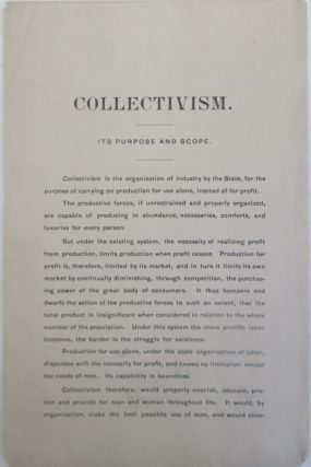 Collectivism. Its Purpose and Scope. given