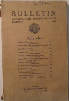 Appalachian Mountain Club Bulletin December 1929. Kenneth Henderson, Robert Underhill