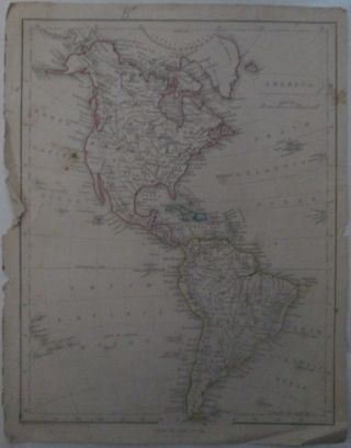 America. Map of the Continents of North and South America, including the United States with Hand...