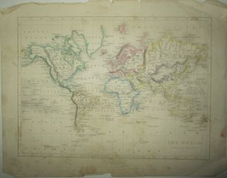 The World. On Mercator's Projection. Map of the Continents and Oceans with Hand Colored Borders....